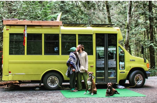 Determined Life Skoolie Short bus dogs nomad
