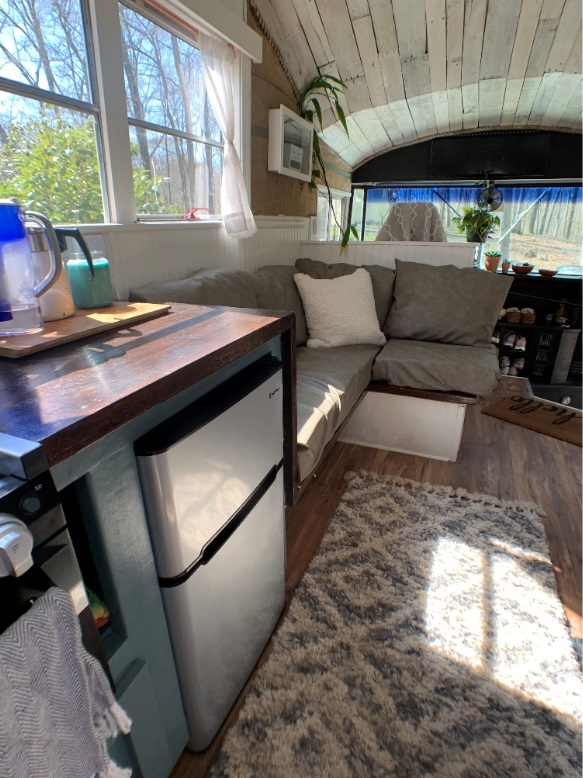 Bus living room couch skoolie diy tiny living