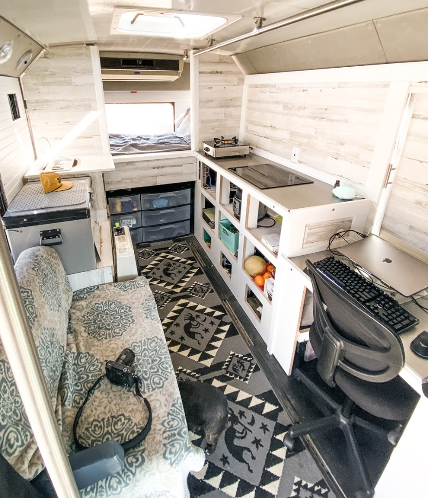 Digital nomad offgrid home on wheels econoline shuttle bus