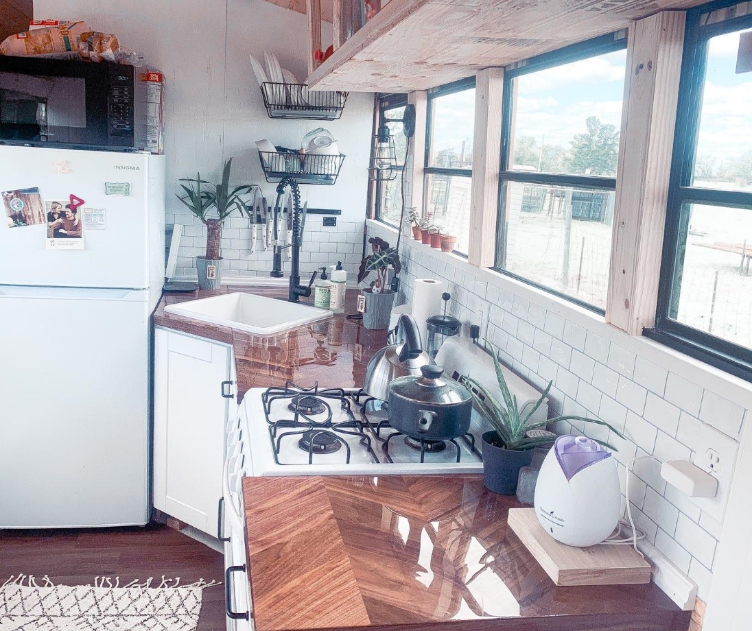 Bus conversion kitchen roaming tiny home