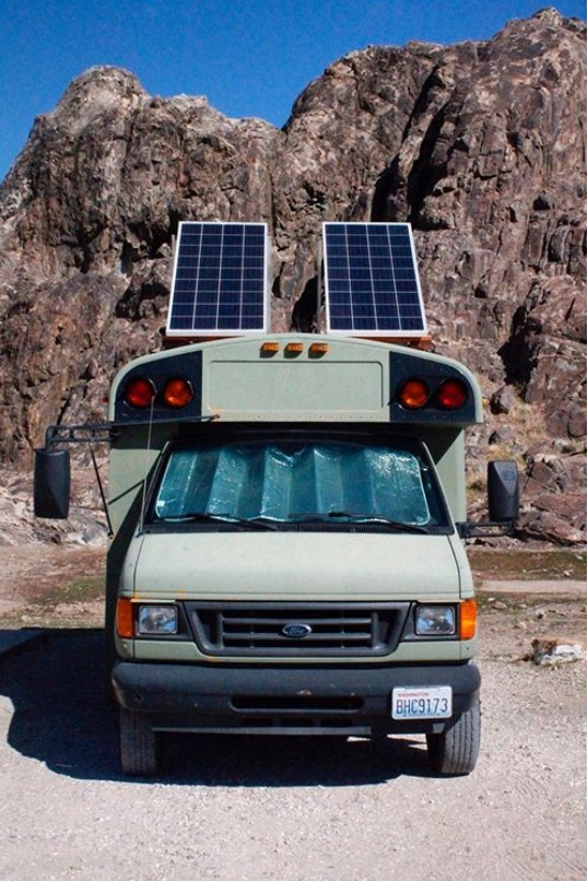 Solar Sunday bus life adventure Stu the Bus tilted Solar Panels