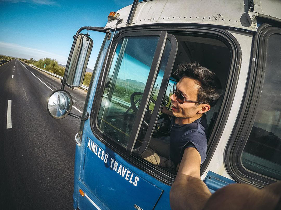 aimless travels driving picture go pro bus life adventure