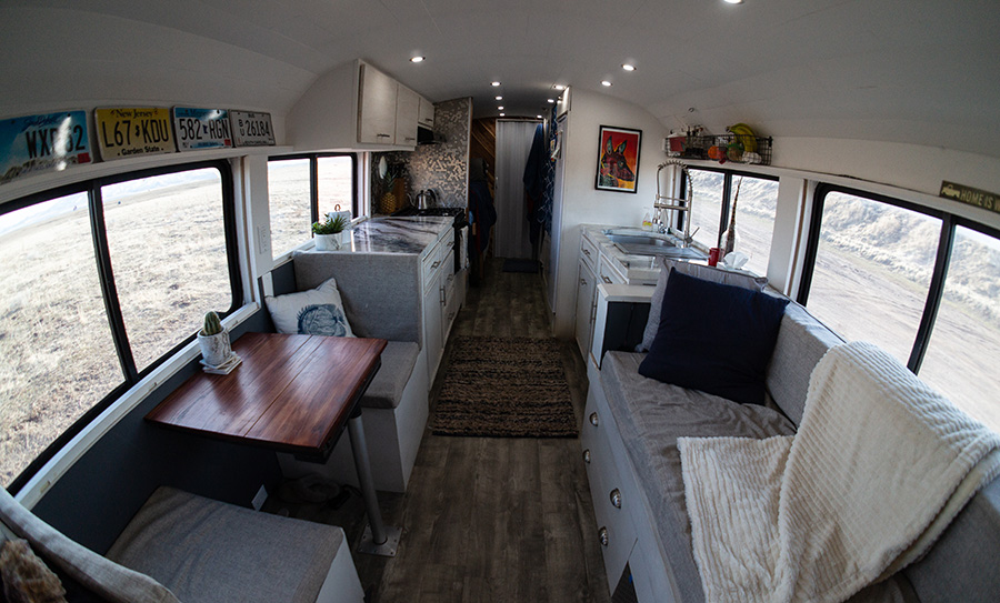 beautiful gorgeous interior aimless travels bus conversion