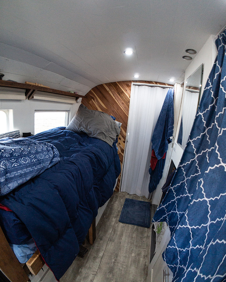 home on wheels tiny house bus interior bedroom