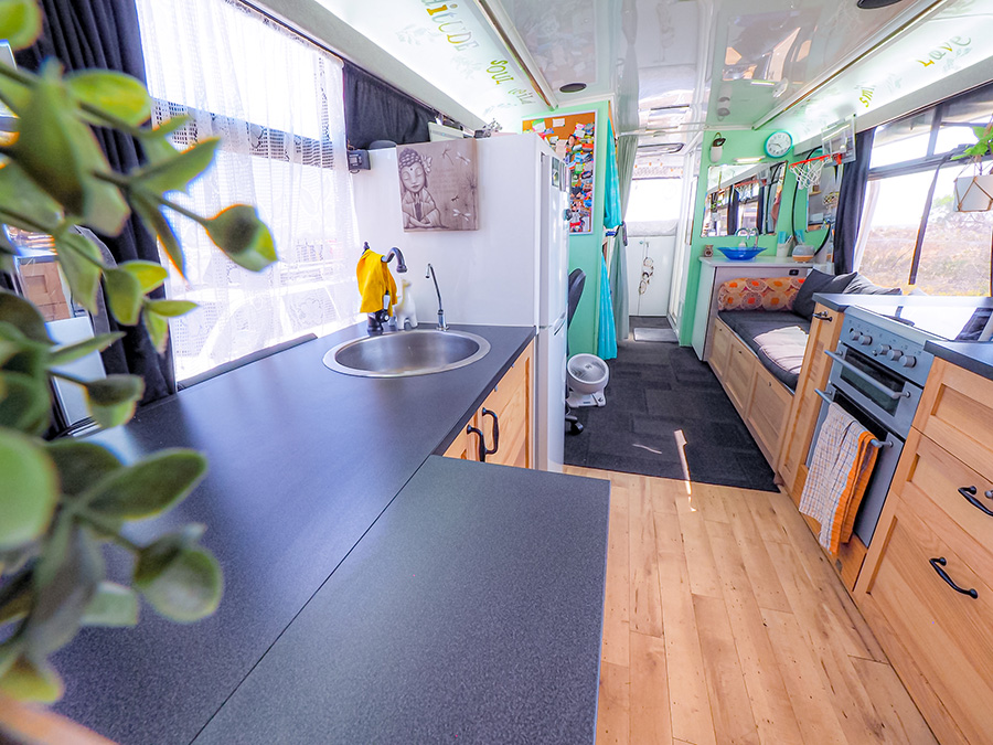 gorgeous interior soulsom bus life conversion skoolie bright flow