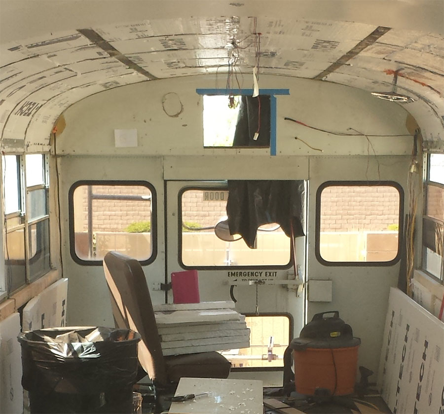 cut hole skoolie interior exterior