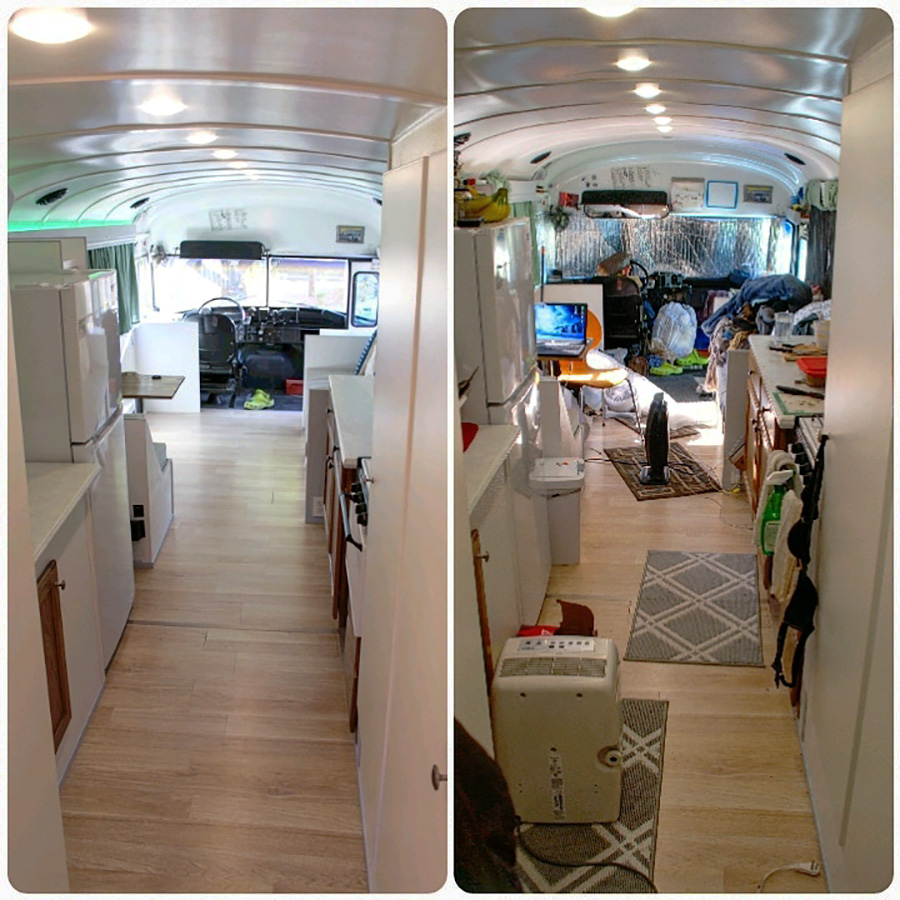 before living after renovation skoolie love bus