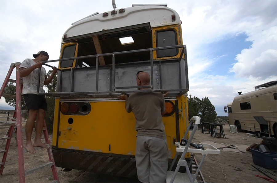attaching rear deck skoolie bus conversion