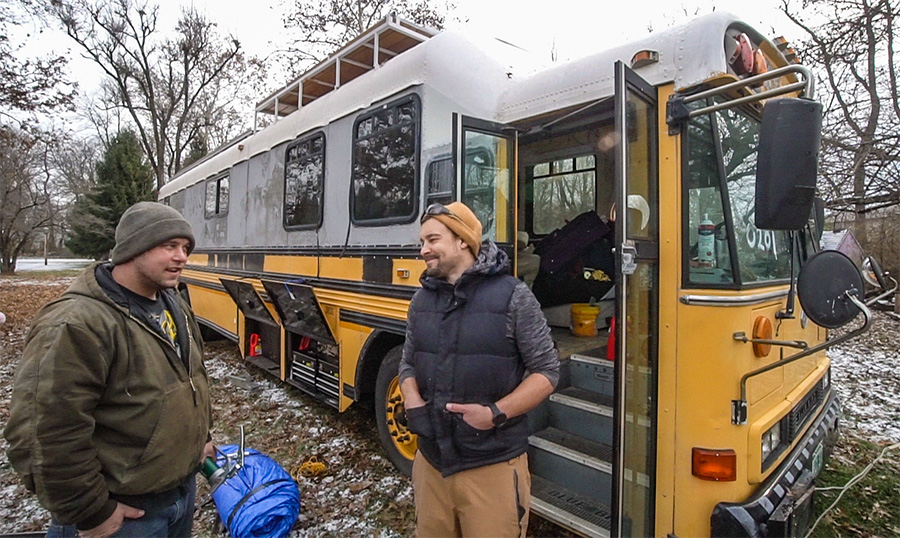 smile bus life adventure snow offgrid