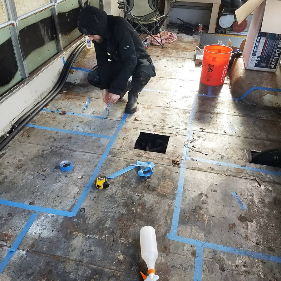 blue tape floor plan skoolie conversion