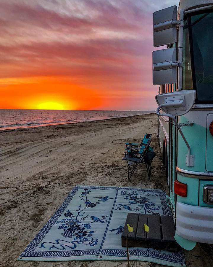 sunset beach beautiful bus life adventure