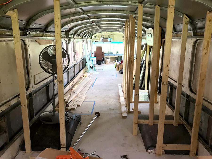 building interior skoolie tippy conversion