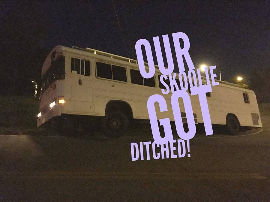 skoolie ditch accident bus life adventure
