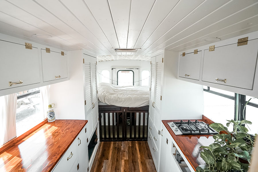 clean interior design white shuttle