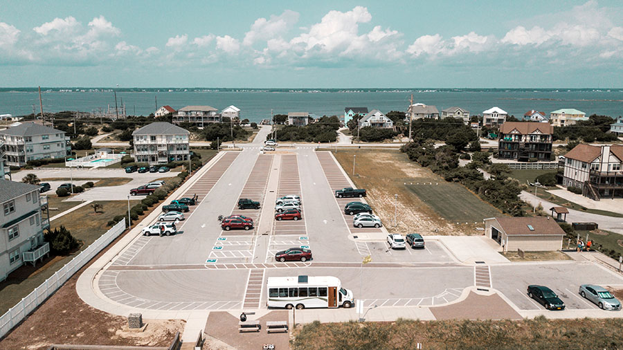 drone shuttle bus parked beach town