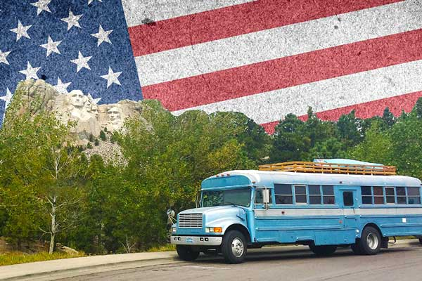 Living care-free in a Converted School Bus around America.